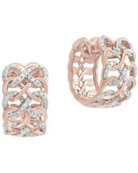Effy - Diamond And 14k Rose Gold Huggies Earrings, 0.48 Tcw - Lyst