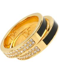 Diane von Furstenberg - Goldtone Pave And Resin Ring Set - Lyst