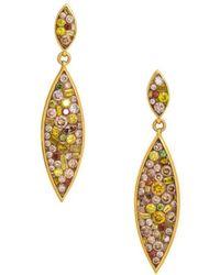 Plevé - Diamond And 18k Yellow Gold Cinnamon Drop Earrings, 2.5 Tcw - Lyst