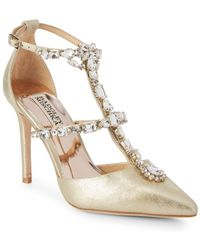 Badgley Mischka - Warner Embellished Leather Stiletto Court Shoes - Lyst
