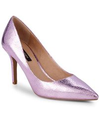 b2fd7684a Ava & Aiden - Morgan Textured Metallic Leather Court Shoes - Lyst