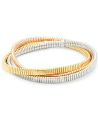 Saks Fifth Avenue - 14k Italian Gold Tubogas Bracelet - Set Of 3 - Lyst