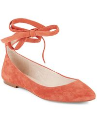 Vince Camuto - Ankle Tie Leather Flats - Lyst