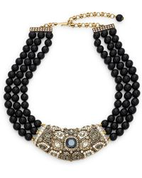 Heidi Daus - Beaded Three Row Pendant Bib Necklace - Lyst