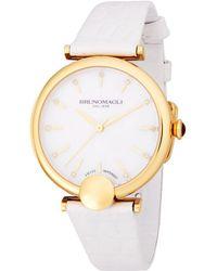 Bruno Magli - Embellished Goldtone Leather-strap Watch - Lyst