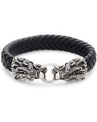 Effy - Sterling Silver, Black Sapphire & Leather Dragon Bracelet - Lyst