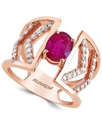 Effy - Final Call Diamonds, Natural Mozambique Ruby And 14k Rose Gold Ring - Lyst