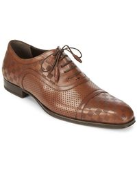 Mezlan - Checked Leather Oxford Shoes - Lyst