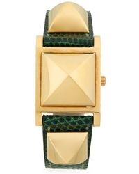 Hermès - Vintage Pyramid Cover Lizard Leather Strap Watch - Lyst