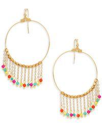 Panacea - Goldplated Crystal Chain Tassel Hoop Earrings - Lyst