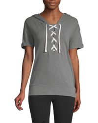 Marc New York - Lace-up Short-sleeve Hooded Sweatshirt - Lyst