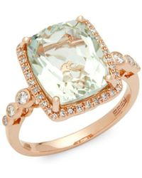 Effy - Amethyst & Diamond Rose Gold Ring - Lyst