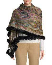 La Fiorentina - Rabbit Fur Trimmed Wool Wrap Scarf - Lyst