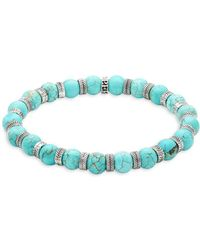 Perepaix - Stainless Steel & Turquoise Beaded Bracelet - Lyst