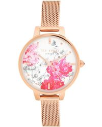 48e3cac3b Ted Baker - Floral Face   Stainless Steel Mesh Strap Watch - Lyst