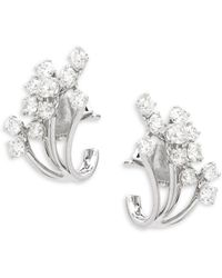 Effy - Diamond & 14k White Gold Stud Earrings - Lyst