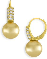 Majorica - Champagne Faux Pearl And Crystal Drop Earrings - Lyst