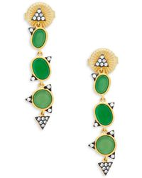 Freida Rothman - Crystal, Green Agate And Sterling Silver Geo Drop Earrings - Lyst