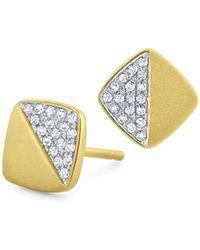 KC Designs - 14k Yellow Gold Diamond Pavé Square Stud Earrings - Lyst