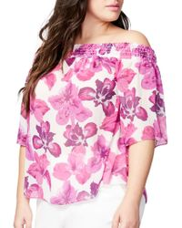 RACHEL Rachel Roy - Plus Floral Off-the-shoulder Top - Lyst