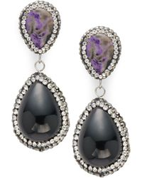 Kevia - Crystal Studded Drop Earrings - Lyst
