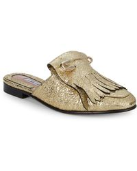 Brian Atwood - Luna Metallic Leather Fringed Mules - Lyst