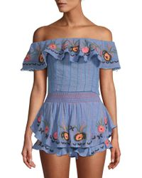 Red Carter - Embroidered Chambray Off-the-shoulder Top - Lyst