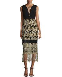 Belle By Badgley Mischka - Tasseled Lace-up Midi Dress - Lyst