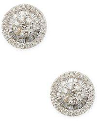 Arthur Marder Fine Jewelry - 18k White Gold & Champagne Diamond Round Stud Earrings - Lyst