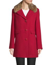 Kate Spade - Faux Fur-trimmed Notch Collar Car Coat - Lyst