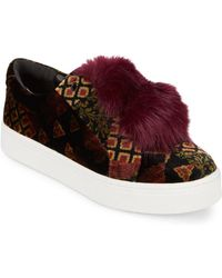 Sam Edelman - Leya Velvet And Faux Fur Accented Sneakers - Lyst