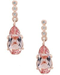 Effy - 14k Rose Gold Diamonds & Morganite Drop Earrings - Lyst
