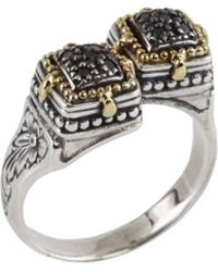 Konstantino - Asteri Double Square Black Diamond, 18k Yellow Gold And Sterling Silver Ring - Lyst