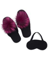 Portolano - Two-piece Fox Fur Slipper And Cashmere Sleep Mask Set - Lyst