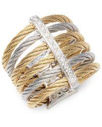 Alor - 18k Gold & Stainless Steel Diamond Midi Ring - Lyst