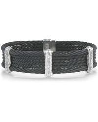 Alor - Noir Cable Stainless Steel And 18k White Gold Multi-strand Bracelet - Lyst