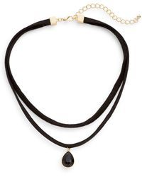 Cara - Layered Suede Choker Necklace - Lyst