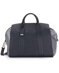 Brioni - Plaid-trim Leather Duffel Bag - Lyst