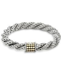 John Hardy - Triple Twist 18k Yellow Gold & Sterling Silver Bracelet - Lyst