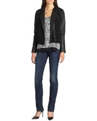 Vince - Leather And Ponte Zip Jacket - Lyst