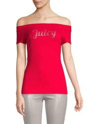 Juicy Couture - Embellished Off-the-shoulder Tee - Lyst