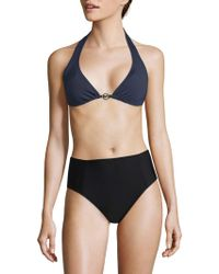 821479d8ecda8 Lyst - Michael Michael Kors Solid Stretch Bikini Bottom in Blue