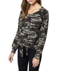 Sanctuary - Laguna Tie-front Camouflage Sweater - Lyst