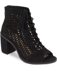 Vince Camuto - Trevan Perforated Suede Booties - Lyst