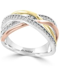 Effy - Final Call Diamond, 14k White, Yellow & Rose Gold Ring - Lyst