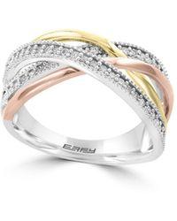 Effy | Final Call Diamond, 14k White, Yellow & Rose Gold Ring | Lyst