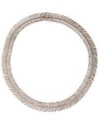 Arthur Marder Fine Jewelry - Feather Silver & Diamond Collar Necklace - Lyst