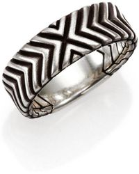 John Hardy - Bedeg Sterling Silver Triangle Pattern Band Ring - Lyst