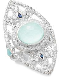Armenta - New World Reconstituted Green Turquoise, Opal, Sapphire, Diamond & Sterling Silver Ring - Lyst
