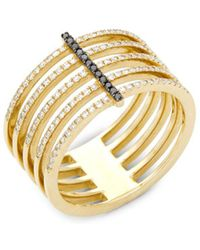 EF Collection - Black Diamond And 14k Yellow Gold Bar Spiral Ring, 0.32 Tcw - Lyst